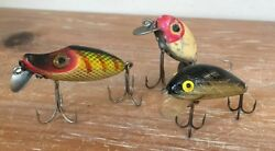 VINTAGE FRED ARBOGAST HULA DANCER FISHING LURE WOOD GOLD RED YELLOW SET OF 3  #7