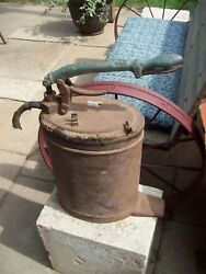 Vintage Antique Alemite Grease Pump Can Lubster Brass Handle $175.00