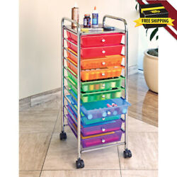 10 Drawer Organizer Cart Storage Bin Easy Grab Bathroom Durable Multi Color