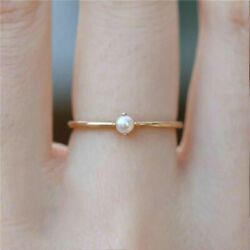 Elegant White Pearl Inlaid Women 18K Gold Plated Engagement Banquet Charm Ring