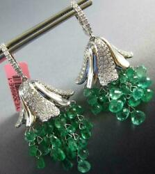 LARGE 20.18CT DIAMONDS & AAA EMERALD 18KT WHITE GOLD CHANDELIER HANGING EARRINGS