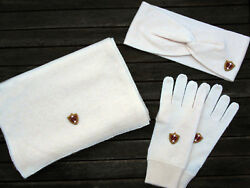 Luxe Oh` Dor 100% Cashmere Cashmere Gift Set Rosa Scarf Gloves Headband
