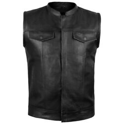 ARD® Men's Sons of Anarchy Motorbike Real Leather Full Grain- Cut Off Waistcoat