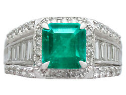 Contemporary 1.93 ct Emerald 0.92 ct Diamond Platinum Dress Ring Size M 12