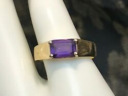 SIGNED 14K SOLID YELLOW GOLD 1.0 CARAT NATURAL AMETHYST RING + RING BOX SIZE 6 $99.00