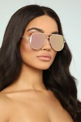 Flat Top Flare Lens DESIGNER Women Sunglasses GOLD ROSE PINK Style Ban SHADES
