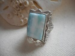 Amazing Sterling Silver Blue Larimar Ring  size 8  RE630
