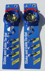 2 Lot of Dog Stake amp; Cable Tie Out 30 FT Tether System for Dogs Fast Shipping $25.95
