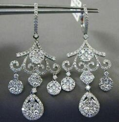 ESTATE LARGE 4.90CT DIAMOND 14KT WHITE GOLD 3D FLEUR DE LIS CHANDELIER EARRINGS
