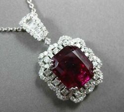 ESTATE MASSIVE 13.73CT DIAMOND & RUBELLITE 18KT WHITE GOLD HALO FLOWER PENDANT