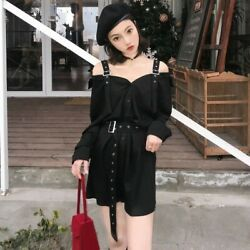 Lady Gothic Dress Shirt Strap Off Shoulder Punk Retro V Neck Buckle Harajuku New