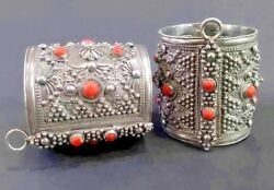 Antique Moroccan Berber Kabyle enamel Silver  red coral Bracelets Cuff Pair