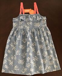 NWT Gymboree Girl Tropical Breeze Blue Chambray Denim Flower Dress   7 8 10 12