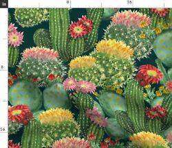 Cacti Collection Watercolor Botanical Floral Fabric Printed by Spoonflower BTY