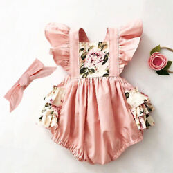 US Newborn Kids Baby Girl Floral Romper Jumpsuit Bodysuit Clothes Outfit Summer
