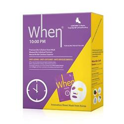 NEW When 10:00 PM Premium Bio-Cellulose Anti-Aging Sheet Masks for Face 12 pack