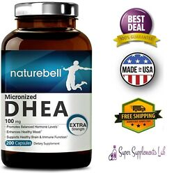 MICRONIZED PURE DHEA 100 mg 200 Capsules Supports Energy Level Metabolism Libido $33.00