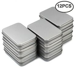 MoMaek 12 Pack Silver Metal Rectangular Empty Hinged Tins Box Containers Mini US