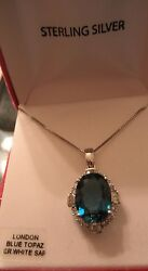 OVAL LONDON BLUE TOPAZ  WHITE SAPPHIRE REAL 925 STERLING SILVER NECKLACE MSRP375