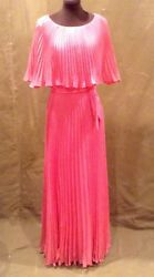 Womens Hot Pink Vintage Formal Pleated Dress Sz S $59.00