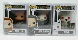 Funko POP GoT Jon Snow Beyond The Wall and Flocked Ghost SDCC YGRITTE MINT LOT