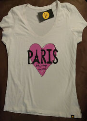 WOMENS LIFE IS GOOD NOTHING IS STRONGER THAN LOVE PARIS T SHIRT MEDIUM NWT
