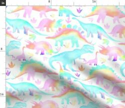 Rainbow Dinos Multicolour Subtle Kids Fabric Printed by Spoonflower BTY