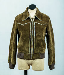Army Olive Green Faux Suede Sherpa Shearling Lined Motorcycle Biker Jacket Sz 12