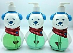 3 Bath & Body Works Hand Soap Christmas Figural Polar Beary Earmuffs Scarf Heart