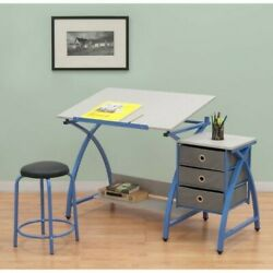 Blue Craft Table w Stool Drafting She Shed Furniture Artistic Theme Furnishing
