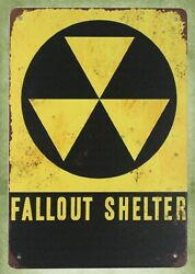 Fallout Shelter Nuclear Radiation Warning tin metal sign bed wall art $15.89