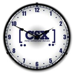 Retro Style CSX RR Blue amp; White Railroad LED Lighted Backlit Man Cave Wall Clock $159.95