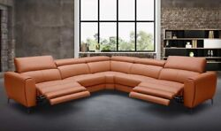Lorenzo Motion Leather Sectional Sofa in Rust