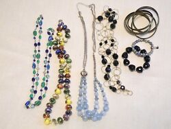 Costume Jewelry Lot of 4 Necklaces 3 Bracelet Glass Beads