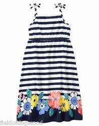 NWT Gymboree TROPICAL BREEZE Striped Floral Midi Dress Size 4 5 6 Girls