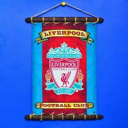 FC LIVERPOOL FLAG With CREST SET 5 in 1: Banner Sticker Pennant Postcard Magnet