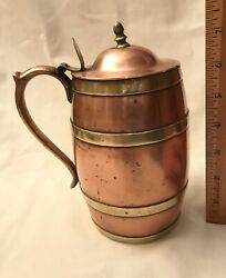 1800's copper and brass tankard barrel shape tin lined stein mug beer ale