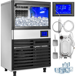 Ice Cube Maker Machine 55Kg121Lbs Commercial Water Filter Timing Cleaning