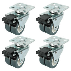 Dual Wheel Heavy Duty Swivel Plate Locking Casters 551 LBs 4 Pack-Silver Gray