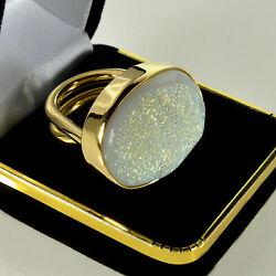 DESIGNER 14K BOLD COCKTAIL RING FROM SAKS 5TH AVE STORE SPARKLING QUARTZ DRUZY