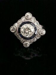 ART DECO STYLE 18CT WHITE GOLD FRENCH CALIBRE CUT SAPPHIRE & DIAMOND CLUSTER