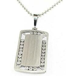 2.59 CT. 14K White Gold Gentleman Diamond Tag Pendant.