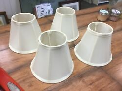 """4 5""""H Chandelier Shades Cream Polyester Fabric Excellent LOOK $19.99"""