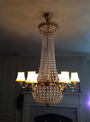 Antique Chandelier - 19th century brass and crystal - converted from gas