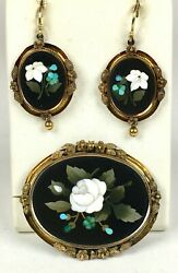 RARE Victorian 14K Gold Pietra Dura Brooch Earrings Set Exceptional EP1189