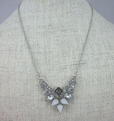 Aqua Brand Silver Tone Faceted Crystal Stone Chain Pendant Necklace $28