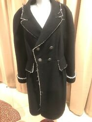 Chanel Black Stretch Wool Boucle Coat Raw edge so chick Sz 46 M to L MSRP $7000