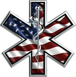 EMS Star of Life American Flag vinyl graphic decal sticker