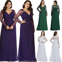 Ever-Pretty US Plus Size Long Sleeve Evening Gowns Lace Formal Cocktail Dresses $40.49