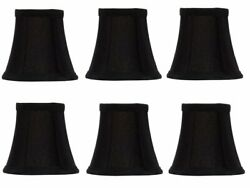 Set Of 6 Chandelier Lamp Shades 6 inch Black Silk with Gold Lining $56.99
